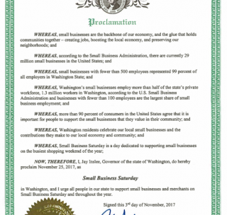 Governor Proclaims November 25 Small Business Saturday